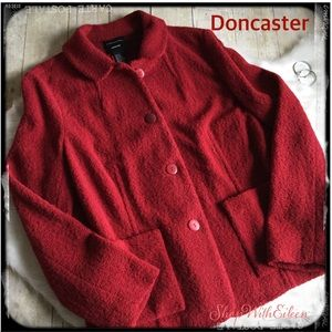 Doncaster Red Wool Boucle Button Front Jacket